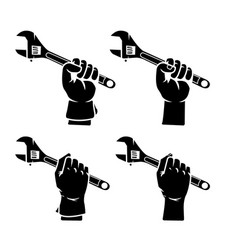 hand grab adjustable wrench silhouette vector image