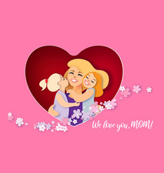happy mothers day card creative paper cut vector image