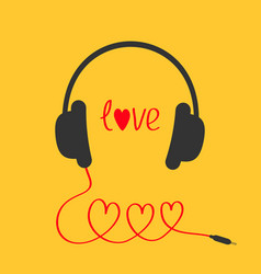 Headphones and red cord in shape three hearts vector