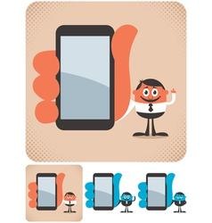 Holding smartphone vector