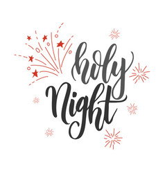 Holly night handwriting script lettering marry vector