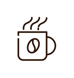 Hot coffee cup beverage line design vector