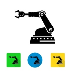 Industrial robot arm icon vector