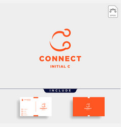 initial c connection logo design technology vector image