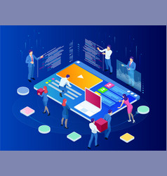isometric seo analytics team concept contents vector image