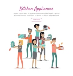 Kitchen Appliances Set of People on Store Sale vector image