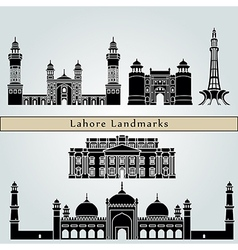 Lahore landmarks and monuments vector image