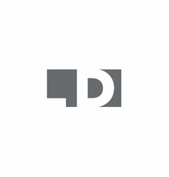 Ld logo monogram with negative space style design vector