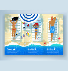 Leaflet design with family lying on beach vector