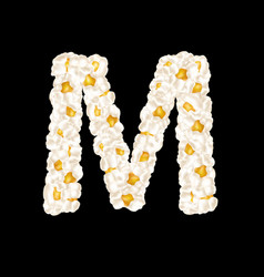 Letter m made up airy popcorn vector