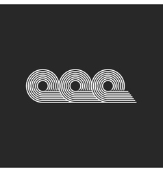 Letters ooo logo flat black and white monogram vector