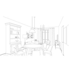 line drawing of the interior vector image