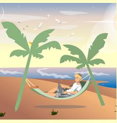 man freelancer working on sea vector image