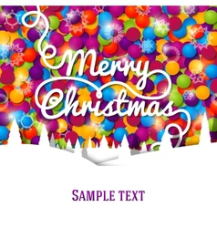 Merry Christmas greeting card with swirl lettering vector image