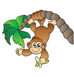 monkey hanging on palm tree vector image