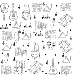 Music tools set doodles vector image