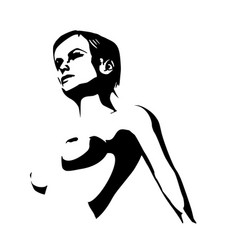 Naked young woman sketch vector