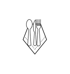 napkin spoon knife fork icon can be used for web vector image