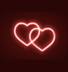 neon hearts icon sign vector image
