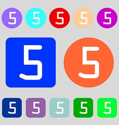 Number five icon sign 12 colored buttons Flat vector