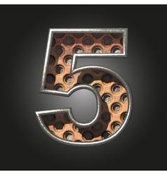 Old metal letter 5 vector