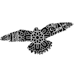 outline of an ornate flying bird with vector image