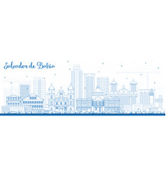 Outline salvador de bahia city skyline with blue vector