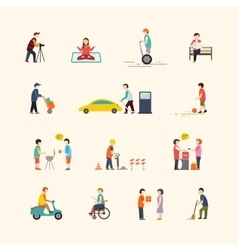 People in the city Flat icons vector
