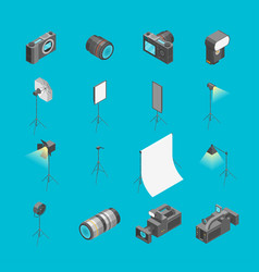 photo studio equipment signs 3d icons set vector image
