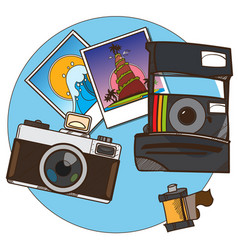 Photos and cameras a top view color on the theme vector