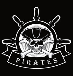 pirate skull with eyepatch and ship helm logo vector image