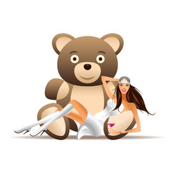 pretty girl has fun with teddy bear vector image