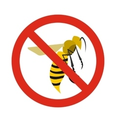 Prohibition sign wasps icon flat style vector image