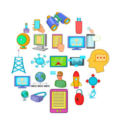 querying data icons set cartoon style vector image