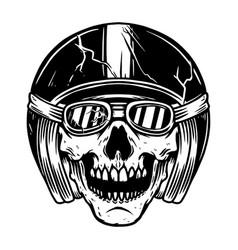 racer skull in motorcycle helmet design element vector image