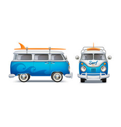 Realistic retro blue bus with surfboard vector