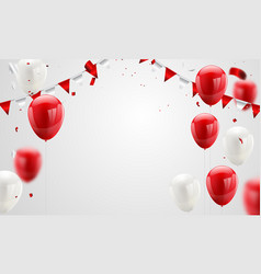 Red white balloons confetti concept design 17 vector