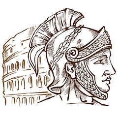 Roman warrior on colosseum background vector