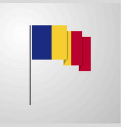 Romania waving flag creative background vector
