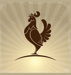 Rooster symbol on retro background vector