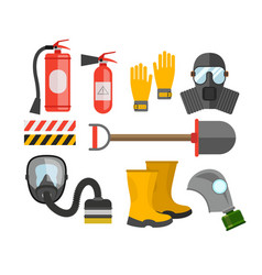 Safety equipment set Fire protection and fire A vector