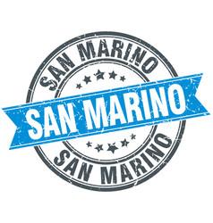 San marino blue round grunge vintage ribbon stamp vector