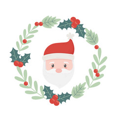 santa wreath holly berry decoration celebration vector image