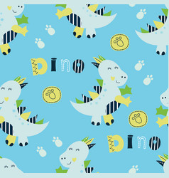 seamless pattern with cute little dinosaurs vector image