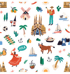 seamless pattern with famous symbols spanish vector image
