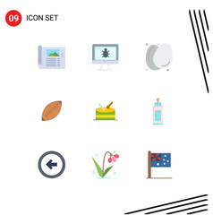 Set 9 flat colors on grid for rugby ball vector