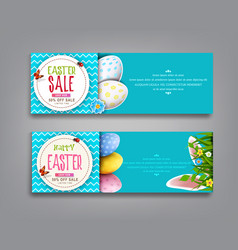 Set easter vintage sale banner vector