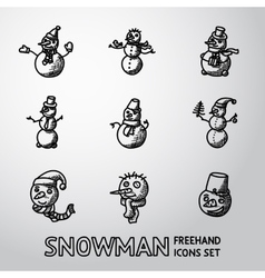 Set freehand snowman icons with different vector