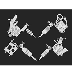 Set of 4 different style tattoo machines Chalk vector