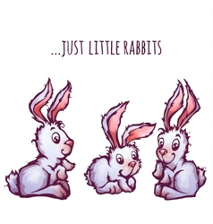 Set of cartoon cute rabbits vector image